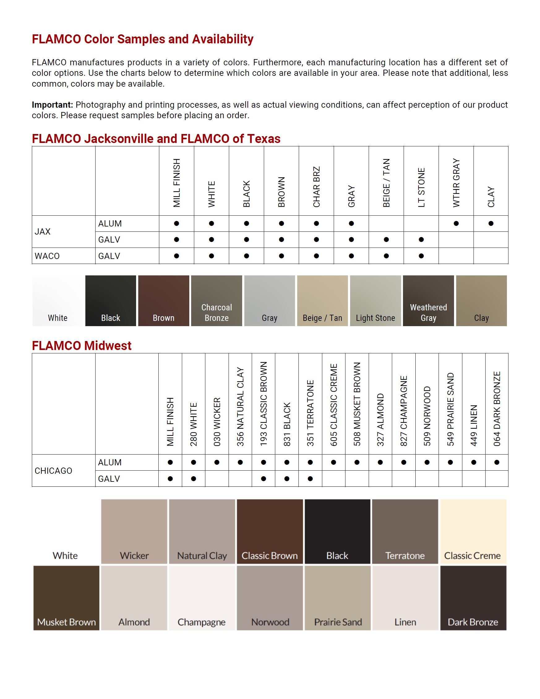 FLAMCO Color Samples and Availability